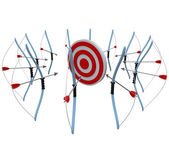 Many Bows and Arrows Aiming at One Target in Competition — Stock Photo