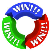 Win Circle with Words on Arrows - Lucky in Games and Life — Stock Photo