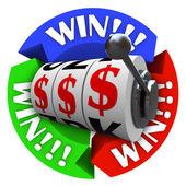 Vincere il cerchio con le ruote della slot machine e segni di soldi — Foto Stock