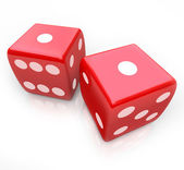 Roll the Dice - Snake Eyes in Gambling Game — Stock Photo