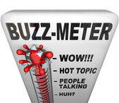 Buzz Meter Thermometer Measures Popularity — Stock Photo