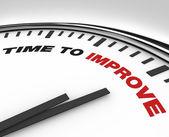 Tijd om te verbeteren - klok van termijn voor plan voor verbetering — Stockfoto