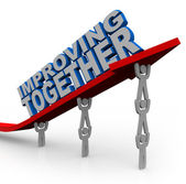 Improving Together Team Lifts Arrow for Growth Success — Stock Photo