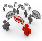 One Person Says Yes While Many Say No - Disagreement — Stock Photo