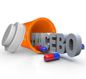 Prescription Medicine Bottle - Placebo Capsule Word — Stock Photo