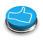 Like It - Thumbs Up Icon on Round Blue Button — Stock Photo