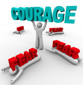One Person with Courage Has Success, Others Afraid Fail — Stock Photo