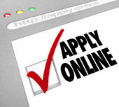 Apply Online - Web Screen - Fill Out Application on Website — Stock Photo