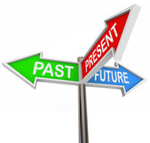 Past Present Future - 3 Colorful Arrow Signs — Stock Photo