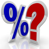 Percentage Sign and Quesiton Mark - Searching for Best Rate — Stock Photo