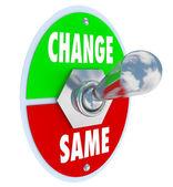 更改 vs 相同-选择以改善您的情况 — 图库照片