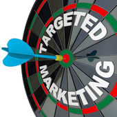 Dart and Dartboard Targeted Marketing Successful Campaign — Stock Photo