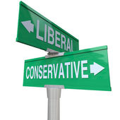 Liberal Versus Conservative Two Way Signs 2 Party System — Stock Photo