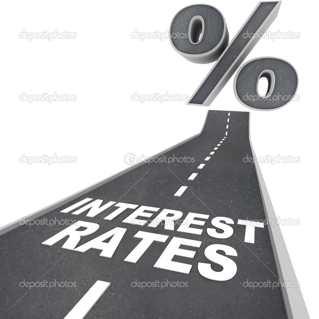 The words Interest Rates on a blacktop road and a percent sign at the top of the street, symbolizing the rising interest rates due to economic factors and condi — Stock Photo #5999183