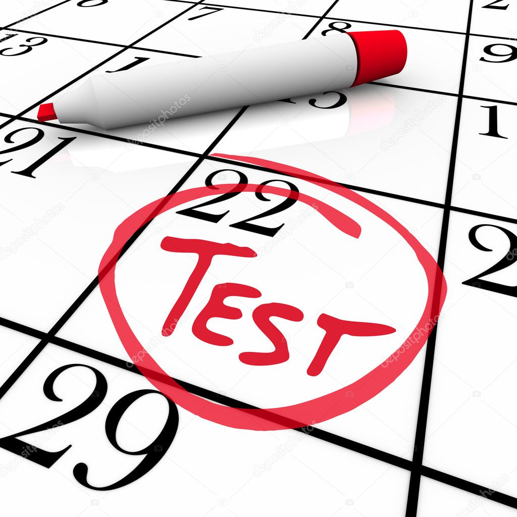 The 22nd day of the month is circled on a white calendar with a red marker with the word Test inside it, illustrating the date of an examination or exam for med — Stock Photo #5999249