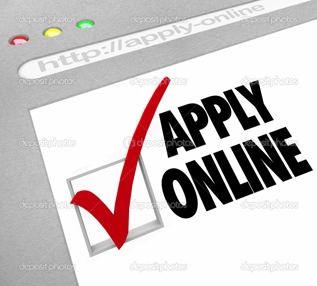 apply online web screen fill out application on website a web browser window shows the words apply online and a check mark and box illustrating an web based application form photo by iqoncept