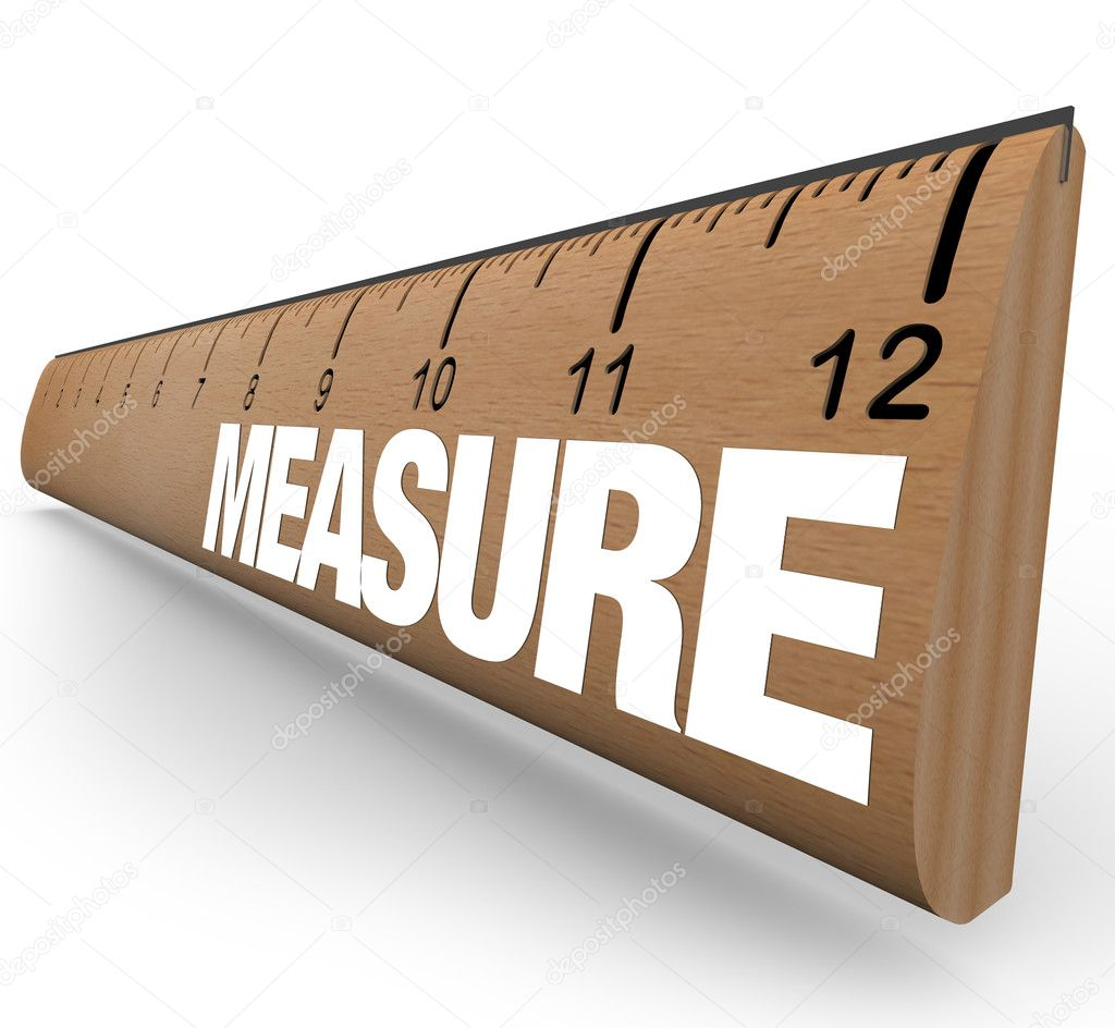 A wooden ruler with the word Measure, illustrating the need to do measurements to quantify objects or processes  Stock Photo #5999313