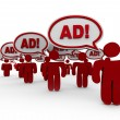 Advertising Overload - Many Sellers Say Ad in Speech Clouds - Stock Photo