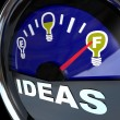 Full of Ideas - Innovation Fuel Gauge for Success — Stock Photo