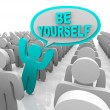 Stock Photo: Be Yourself - One Different Person Standing Out in Crowd