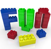 Fun Word Built with Toy Building Blocks — Stock Photo