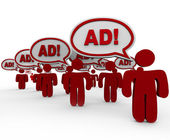 Advertising Overload - Many Sellers Say Ad in Speech Clouds — Stock fotografie