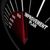 改善計画スピード メーター - 成功のための変更 — ストック写真