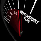 Geliştirme planı hız göstergesi - başarı için değişiklik — Stok fotoğraf
