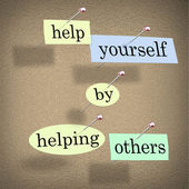 Help Yourself by Helping Others - Words Pinned on Board — Stock Photo