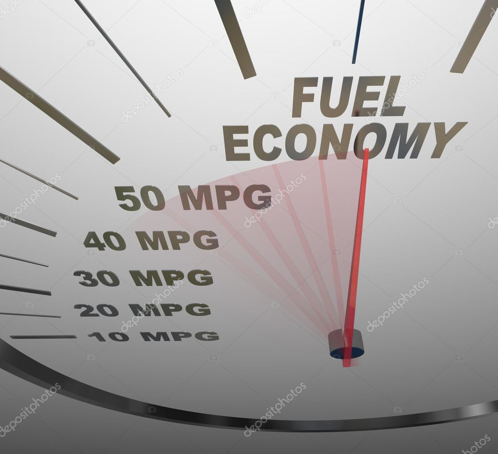 The words Fuel Economy on a vehicle speedometer with a red needle racing past numbers 10, 20, 30, 40, 50 MPG as the automobile achieves an improved efficiency r — Stock Photo #6269899