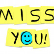 Miss You - Words on Yellow Sticky Notes - Stock Photo