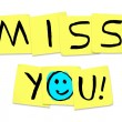 Miss You - Words on Yellow Sticky Notes - Stockfoto