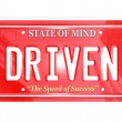 Driven Word on Red License Plate - Driving to Success — Stock Photo