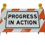 progreso en acción - mejora del camino barricada y cambio para f — Foto de Stock