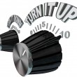 Turn It Up - Dial Knob Turning Up to Max Volume Level - Stockfoto