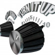 Turn It Up - Dial Knob Turning Up to Max Volume Level - Foto de Stock