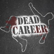 Dead Career - Chalk Outline of Obsolete or Demoted Position - Stock Photo