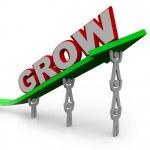 Grow - Teamwork Reaching Goal Through Growth — Stock Photo