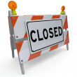 Road Closed Barricade Sign Barrier Blocking Access - Stock Photo