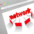 Social Network on Online Website Screen Shot — Stockfoto