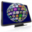 Streaming Content Icons on HDTV Television Screens - Stock Photo