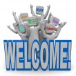 Welcome - International Languages Welcoming Guests — Stock Photo