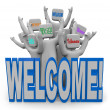 Welcome - International Languages Welcoming Guests - Stock Photo