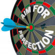 Aim for Perfection - Dart Hits Target Bulls-Eye on Dartboard — Stock Photo #6270233