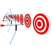 Bows and Arrows Pointing at Bulls-Eyes in Competition — Stock Photo