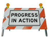 Progress in Action - Road Barricade Improvement and Change for F — Zdjęcie stockowe