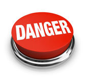 Danger Word on Round Red Button - Use Caution Be Alert — Stock Photo