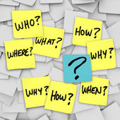 Questions and Question Mark - Sticky Note Confusion — Zdjęcie stockowe