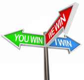 You and I Win We All Are Winners - 3 Way Street Sign — Stock Photo