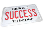 Success Word on License Plate Follow to Successful Future — Stock Photo